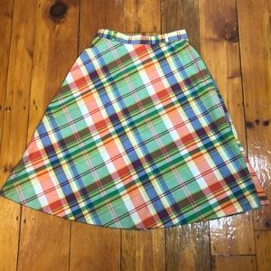 Vintage 70s/80s Green Blue Plaid A Line Skirt